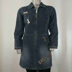 Baby Phat Denim Zipper Front Tunic Dress, XL